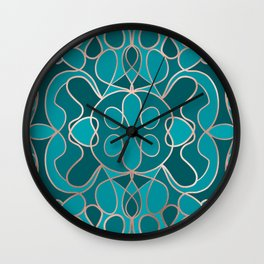 Modern Artsy Ocean Blue Rose Gold Geometric Wall Clock