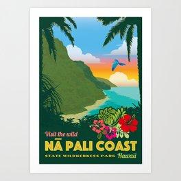 Na Pali Coast Travel Poster Art Print