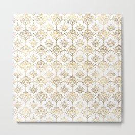 White & Gold Motif Metal Print