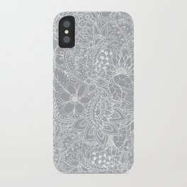 Modern trendy white floral lace hand drawn pattern on harbor mist grey iPhone Case