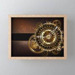 Steampunk Clock with Gears Framed Mini Art Print