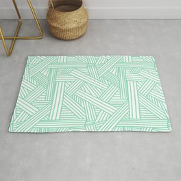 Sketchy Abstract (Mint & White Pattern) Rug