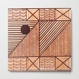 Savage Tribe Ancient Geometric Pattern Metal Print