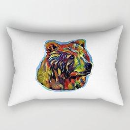 Kaleidoscope Bear on White Rectangular Pillow