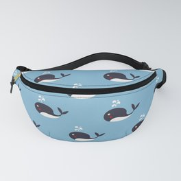 Preppy Blue Whale Pattern Fanny Pack
