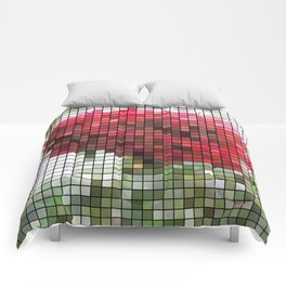 Red Rose with Light 1 Mosaic Comforters