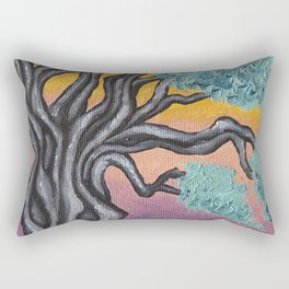 Olive tree at sunset oil painting Rectangular Pillow