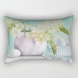 White flowers and eggs Rectangular Pillow