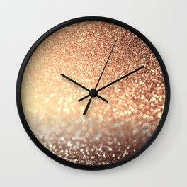 Cozy Copper Espresso Brown Ombre Autumnal Mermaid Glitter Wall Clock