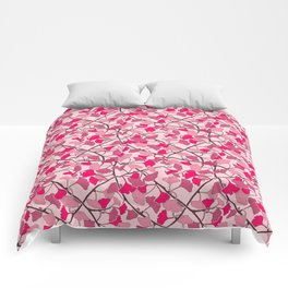Ginkgo Leaves in Vibrant Hot Pink Tones Comforters