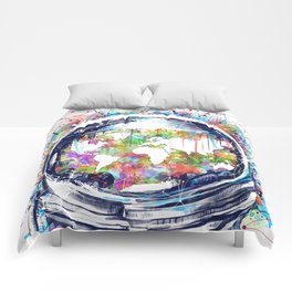 astronaut world map colorful Comforters