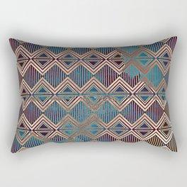 Distressed Triangle, Square with Stripes Digital Graphic Design - Artwork Rectangular Pillow