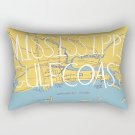 Mississippi Gulf Coast Map Rectangular Pillow