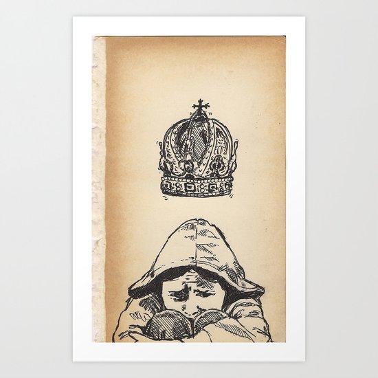 Sad Child Crowned Art Print