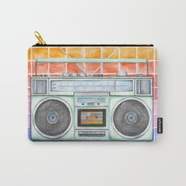 Boombox - Watercolor - Rainbow Background vintage boombox - Stereo - 1980s Carry-All Pouch