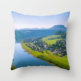 Rathen and the Elbe river Throw Pillow