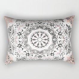 Dreamer Mandala White On Rose Gold Rectangular Pillow