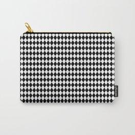 mini Black and White Mini Diamond Check Board Pattern Carry-All Pouch