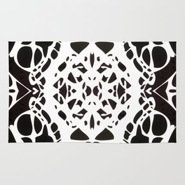 Black and White Ink Blot Rug