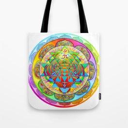Inner Strength Psychedelic Tiger Sri Yantra Mandala Tote Bag