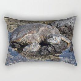 Turtle resting on the Rocks Rectangular Pillow