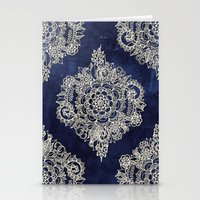 paint Stationery Cards featuring Cream Floral Moroccan Pattern on Deep Indigo Ink by micklyn