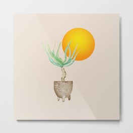 Hand Drawn Set, Bohemian Pot Of Aloe, sunshine, minimal potted plants, No 01 Metal Print