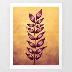 Abstract Plant With Purple Leaves Art Print