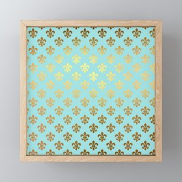 Royal gold ornaments on aqua turquoise background Framed Mini Art Print