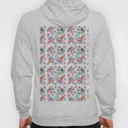 Pink teal hand painted watercolor cone tropical floral Hoody