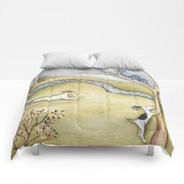 Dog squirrel landscape painting GET IT! original art Comforters