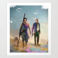 Rey and BB8 Art Print