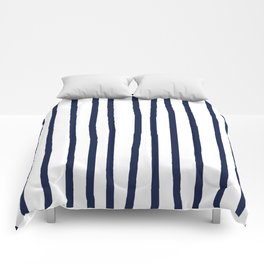 Simply Drawn Vertical Stripes Nautical Navy Blue on White Comforters