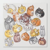 a lot of cats Canvas Prints featuring Lot of cats by Billie La Roche