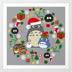 Troll Christmas Wreath Art Print
