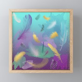Dancing Feathers - Turquoise and purple shades with gold details Framed Mini Art Print