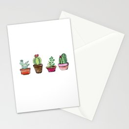 Cactus Pots Watercolor Plant -Hipster Stationery Cards