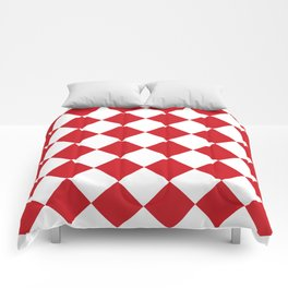 Large Diamonds - White and Fire Engine Red Comforters
