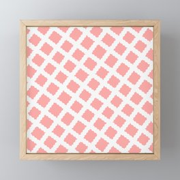 Coral Pink & White Diagonal Grid Pattern - Black & Pink - Mix & Match with Simplicity of Life Framed Mini Art Print
