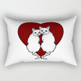 Cat Couple, White Cats with Big Red Heart, Love, Romance Rectangular Pillow
