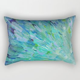 SEA SCALES - Beautiful Ocean Theme Peacock Feathers Mermaid Fins Waves Blue Teal Color Abstract Rectangular Pillow