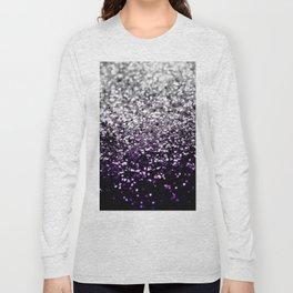 Dark Night Purple Black Silver Glitter #1 #shiny #decor #art #society6 Long Sleeve T-shirt