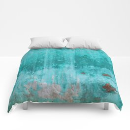 Weathered turquoise concrete wall texture Comforters