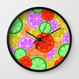 Citrus Explosion - A Pattern of Many Fruits from the Citrus Family Wall Clock