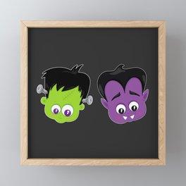 Cute Halloween Heads - Frankenstein and Vampire Framed Mini Art Print