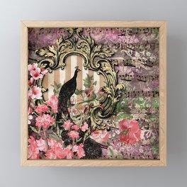 Vintage Floral Music Note Paper Framed Mini Art Print