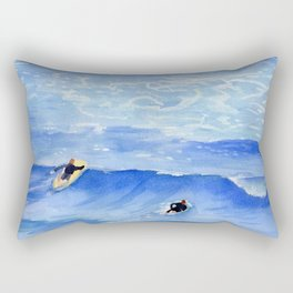 Getting ready to take this wave surf art Rectangular Pillow