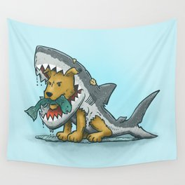 Shark Suit Dog Wall Tapestry