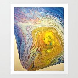 Supernova yellow golden on white purple pink blue abstract acrylic Art Print