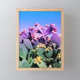 Sweet Rainbow Tropical Cactus #tropicalart #decor Framed Mini Art Print